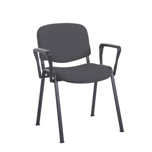 Taurus meeting room stackable chair with black frame and fixed arms - Blizzard Grey