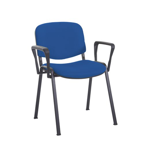 Taurus meeting room stackable chair with black frame and fixed arms - Scuba Blue