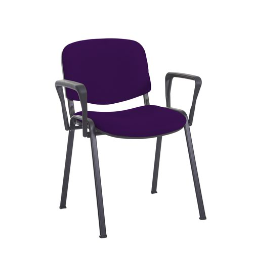 Taurus meeting room stackable chair with black frame and fixed arms - Tarot Purple