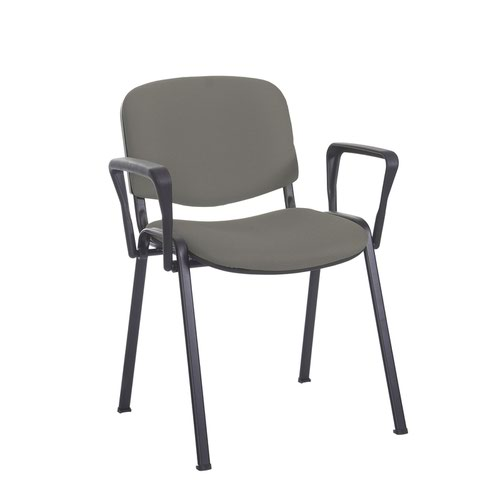 Taurus meeting room stackable chair with black frame and fixed arms - Slip Grey