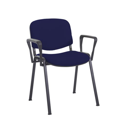 Taurus meeting room stackable chair with black frame and fixed arms - Ocean Blue
