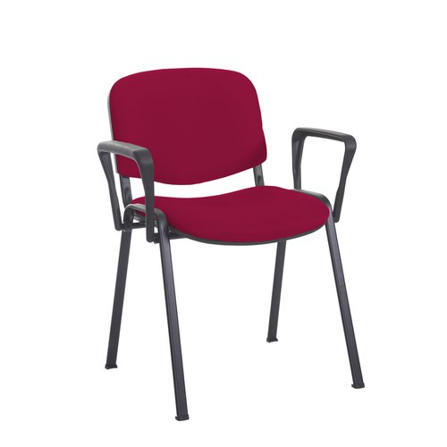 Taurus meeting room stackable chair with black frame and fixed arms - Diablo Pink