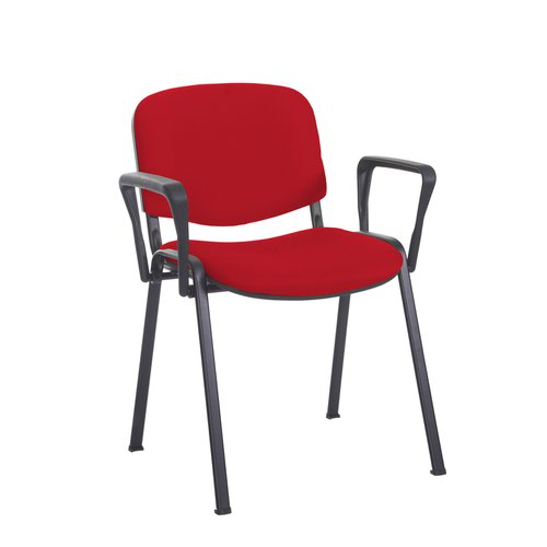 Taurus meeting room stackable chair with black frame and fixed arms - Belize Red