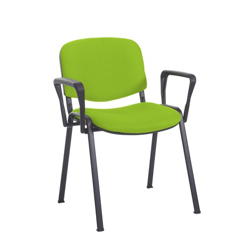 Taurus meeting room stackable chair with black frame and fixed arms - Madura Green