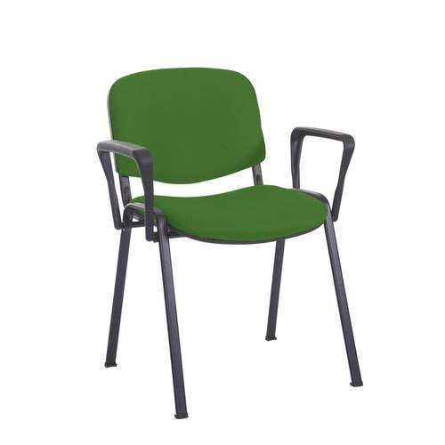Taurus meeting room stackable chair with black frame and fixed arms - Lombok Green