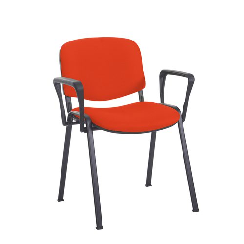 Taurus meeting room stackable chair with black frame and fixed arms - Tortuga Orange