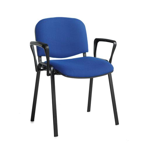 Taurus meeting room stackable chair with black frame and fixed arms - blue