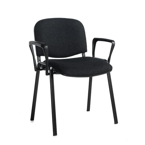 Taurus meeting room stackable chair with black frame and fixed arms - charcoal