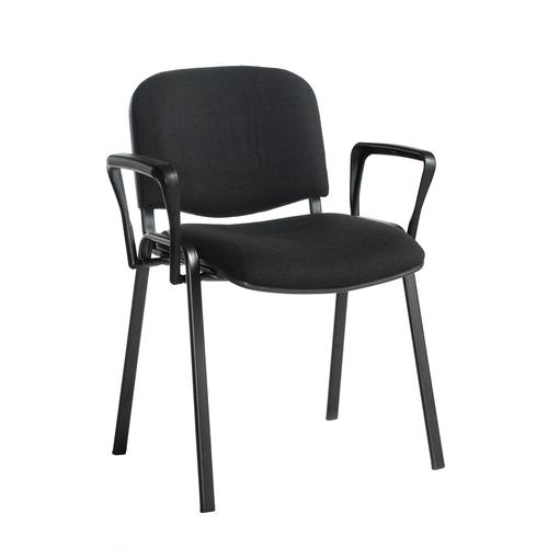 Taurus meeting room stackable chair with black frame and fixed arms - black