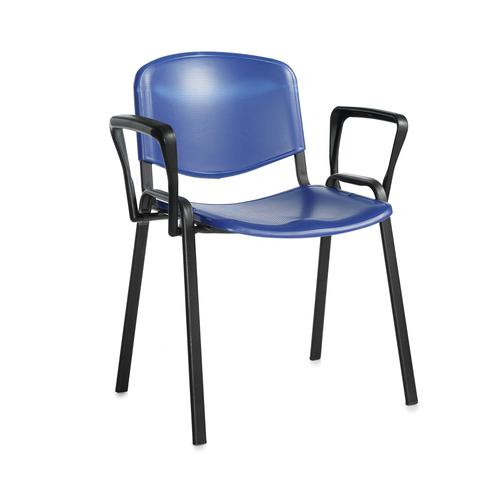 Taurus plastic meeting room stackable chair with fixed arms - blue with black frame