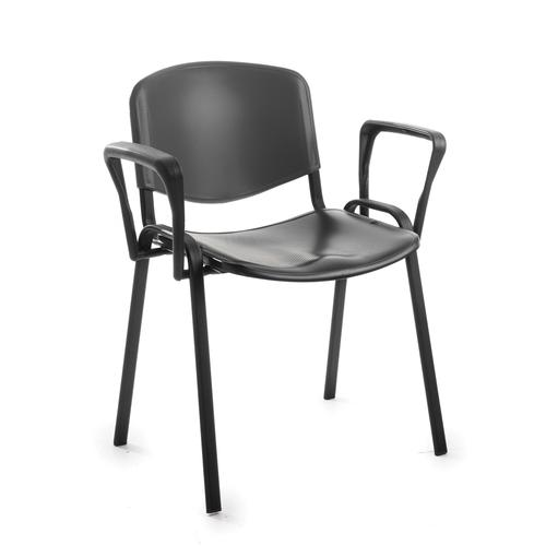Taurus plastic meeting room stackable chair with fixed arms - black with black frame