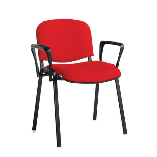 Taurus meeting room stackable chair with black frame and fixed arms - red