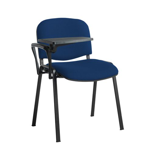 Taurus meeting room stackable chair with black frame and writing tablet - Curacao Blue