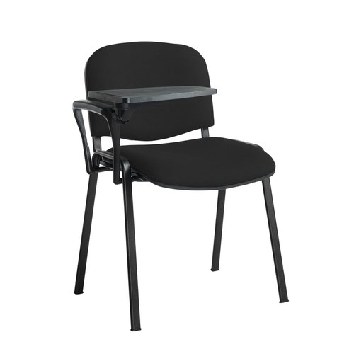 Taurus meeting room stackable chair with black frame and writing tablet - Havana Black