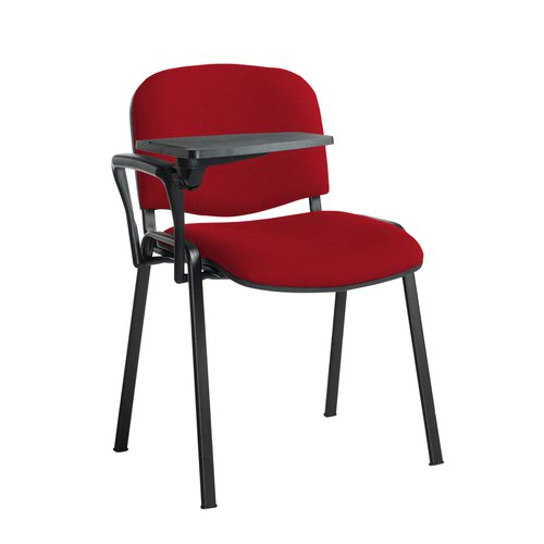 Taurus meeting room stackable chair with black frame and writing tablet - Panama Red