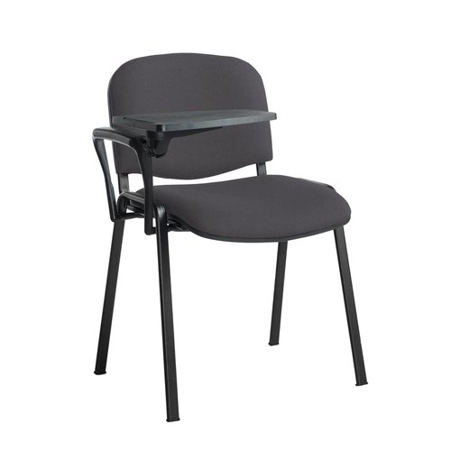 Taurus meeting room stackable chair with black frame and writing tablet - Blizzard Grey