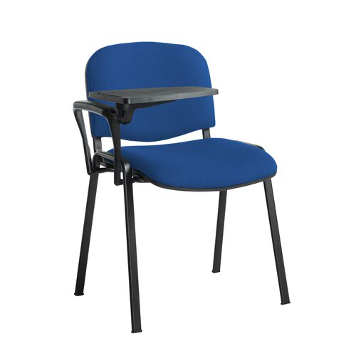 Taurus meeting room stackable chair with black frame and writing tablet - Scuba Blue
