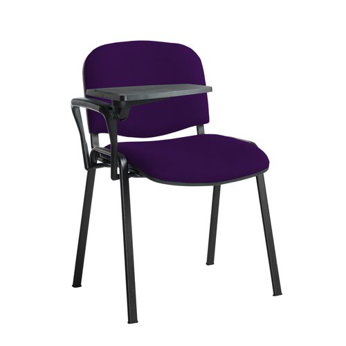 Taurus meeting room stackable chair with black frame and writing tablet - Tarot Purple