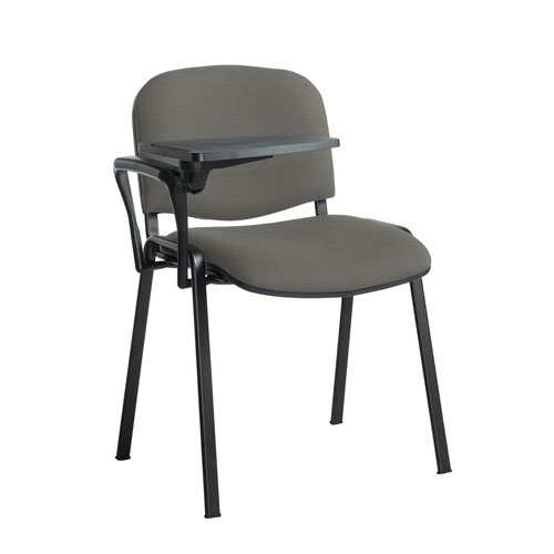 Taurus meeting room stackable chair with black frame and writing tablet - Slip Grey