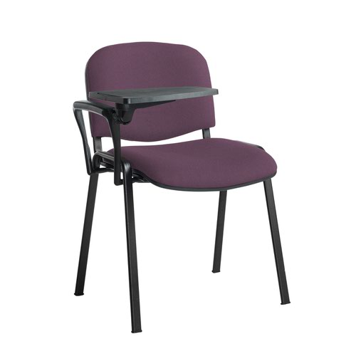 Taurus meeting room stackable chair with black frame and writing tablet - Bridgetown Purple