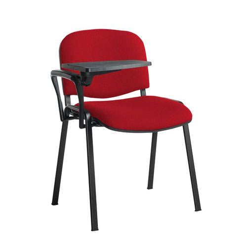 Taurus meeting room stackable chair with black frame and writing tablet - Belize Red