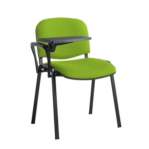 Taurus meeting room stackable chair with black frame and writing tablet - Madura Green