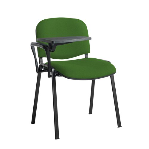 Taurus meeting room stackable chair with black frame and writing tablet - Lombok Green