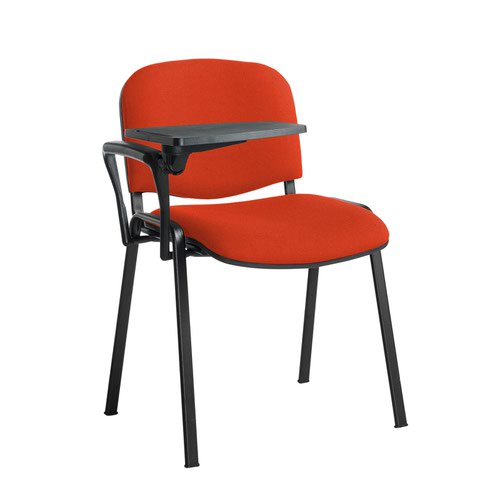 Taurus meeting room stackable chair with black frame and writing tablet - Tortuga Orange