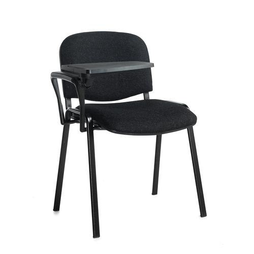 Taurus meeting room chair with black frame and writing tablet - charcoal