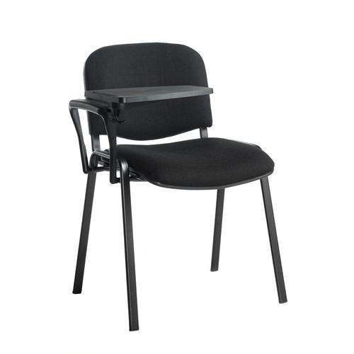 Taurus meeting room chair with black frame and writing tablet - black