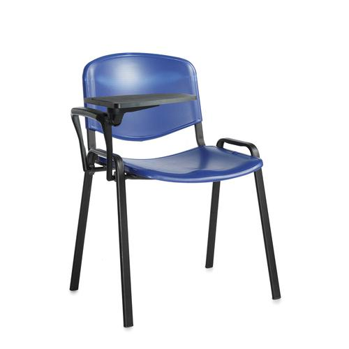 Taurus plastic meeting room chair with writing tablet - blue with black frame