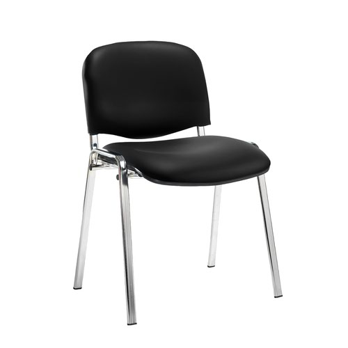 Taurus meeting room stackable chair with chrome frame and no arms - Nero Black vinyl