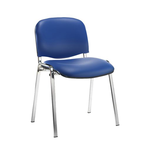 Taurus meeting room stackable chair with chrome frame and no arms - Ocean Blue vinyl