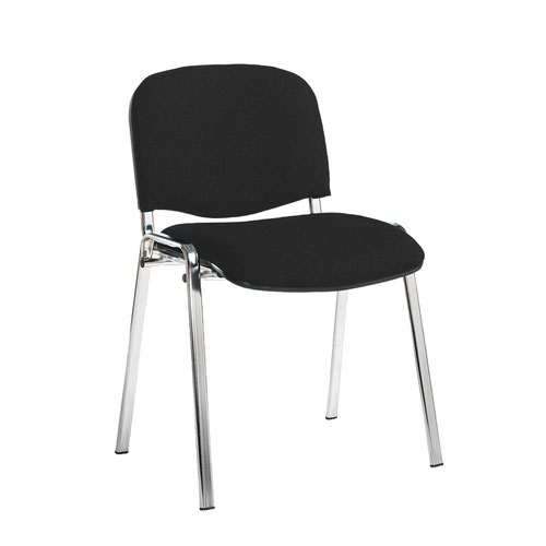 Taurus meeting room stackable chair with chrome frame and no arms - Havana Black