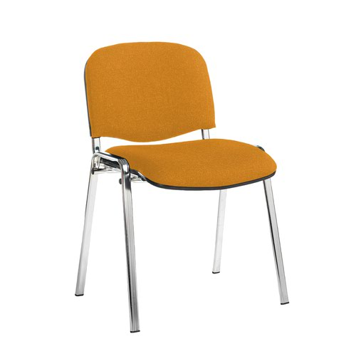 Taurus meeting room stackable chair with chrome frame and no arms - Solano Yellow