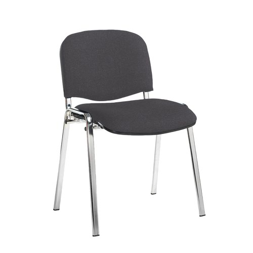 Taurus meeting room stackable chair with chrome frame and no arms - Blizzard Grey