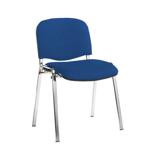 Taurus meeting room stackable chair with chrome frame and no arms - Scuba Blue