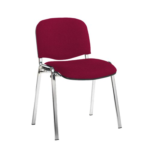Taurus meeting room stackable chair with chrome frame and no arms - Diablo Pink
