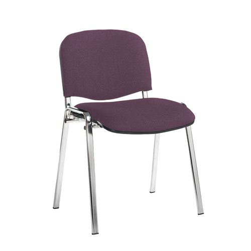 Taurus meeting room stackable chair with chrome frame and no arms - Bridgetown Purple