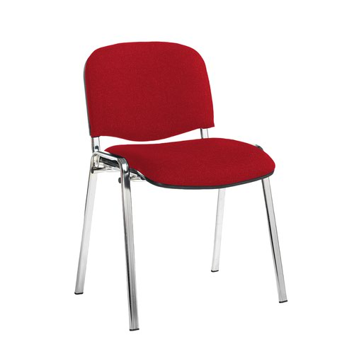 Taurus meeting room stackable chair with chrome frame and no arms - Belize Red