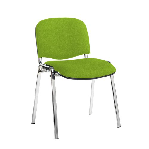 Taurus meeting room stackable chair with chrome frame and no arms - Madura Green