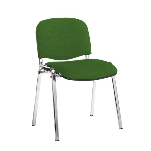 Taurus meeting room stackable chair with chrome frame and no arms - Lombok Green