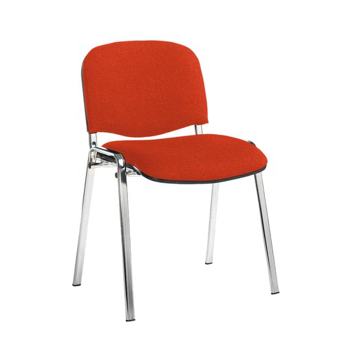 Taurus meeting room stackable chair with chrome frame and no arms - Tortuga Orange