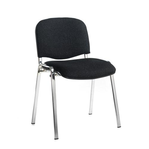 Charcoal meeting room stackable chair with chrome frame and no arms