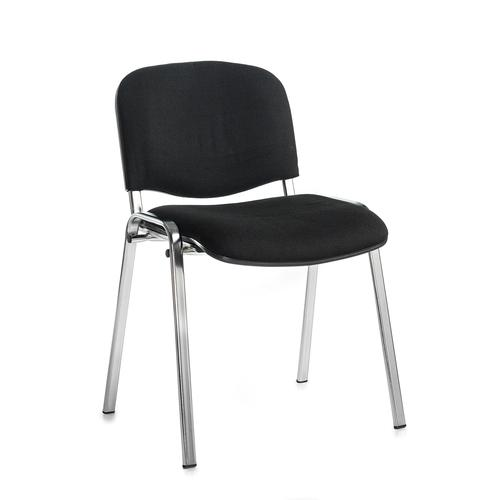 Black meeting room stackable chair with chrome frame and no arms