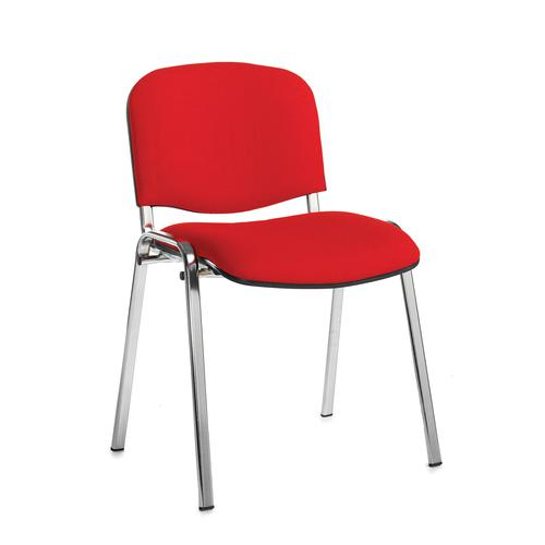 Red meeting room stackable chair with chrome frame and no arms
