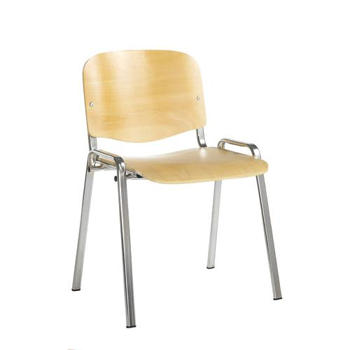 Taurus wooden meeting room stackable chair with no arms - beech with chrome frame