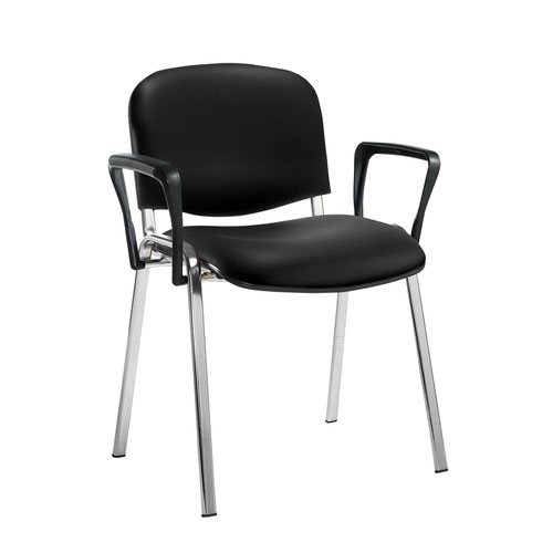 Taurus meeting room stackable chair with chrome frame and fixed arms - Nero Black vinyl