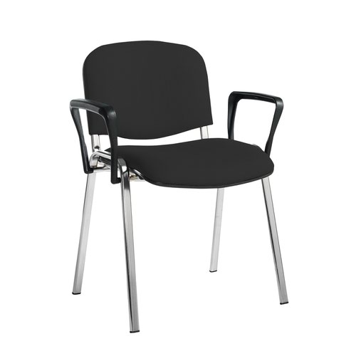 Taurus meeting room stackable chair with chrome frame and fixed arms - Havana Black