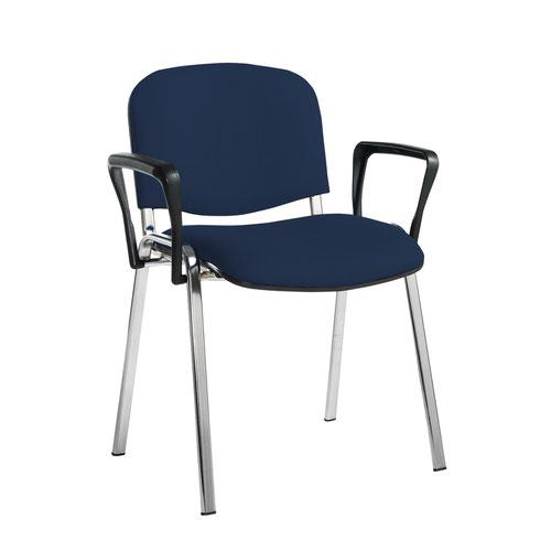 Taurus meeting room stackable chair with chrome frame and fixed arms - Costa Blue
